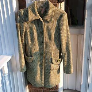 F21 Green & Cream Wool Tweed Long Coat